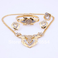 Women's african jewelry - brand new designer vintage k gold plated jewelry sets for women rhinestone necklace sets austrian crystal dubai african costume wedding