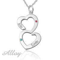 anniversary gifts sister - Double heart alloy name necklace birthstone drop pendent gift for lover sister necklace