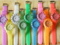 Wholesale DHL free new design silicone candy color band quartz movement promotional light Glow In Dark watch color best2011