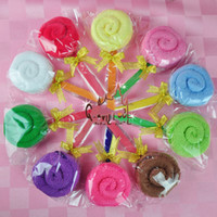 Wholesale Cute Monochrome lollipop towel Cartoon candy Cake Towel birthday gift wedding cake gift