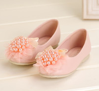Wholesale Latest Children Elegant Party Shoes Kids Shoes Round Head Pearls Lace Bowknot Flat Shoes Baby Girls Beige Pink Doll Shoes Pairs