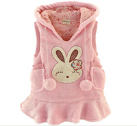 baby duck - Autumn Winter Children Waistcoat Coral Fleece Long Style Baby Girl Hoodies Coat Cartoon Rabbit Kids Vest Coat Dress QS225 Retail