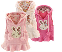 Wholesale Hot Sale and popular cute girls vest waistcoat hoodies dress pure cotton coral fleece thicken rabbit baby hoodie dress outwear QQ225