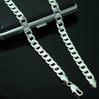 Wholesale NEW Sterling Silver Necklace Curb Chain mm two style Link Italy inch
