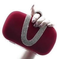 achat en gros de sacs de soirée bordeaux-Fashion Designer Bourgogne Fuchsia noir soir embrayage sacs fourre-tout Cocktail Party Mariage Sacs à main Sac à main Perceuse Crystal Elegant Noble