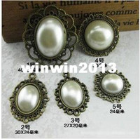 other Jewelry Findings Multi Free Shipping 30PC 40*35MM Vintage Style Pearl Bead Alloy Base Embellishment Button Trim DIY Bow Jewelry Hair Accessories #1