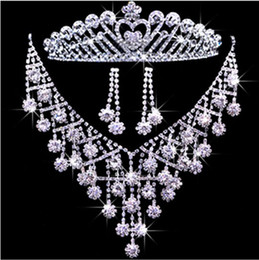 Wholesale Three piece Bridal Jewelry Wedding tiara crown