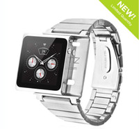 For iPod Nano Yes  New arrive all metal Aluminum stainless iWatchz wrist STRAP watch band case for iPod Nano 6 1piece drop ship