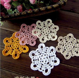 Wholesale cotton hand made Crochet Doily cup mat vase mat appliques x11CM zp029