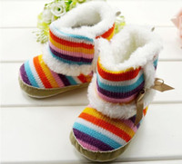 baby snowboots - Newborn infant Rainbow Snowboots Boots Infant boys girls toddler baby boots shoes