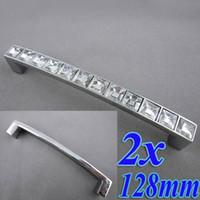Wholesale 2pcs Crystal Glass mm Cabinet Knob Pull Handle Drawer Cupboard Door Wardrobe