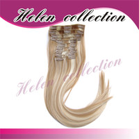 blend best synthetic hair extensions - 2013 best quality Hair Extension g straight pieces set clip in hair extension