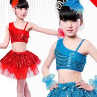 Girl Summer Sleeveless Children's performance clothing, girls costumes, sequined veil Latin skirt, dance skirt,Modern skirt