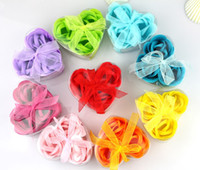 Cheap DIY heart-shaped rose Soap flower(3pcs box).for romantic Valentines and Wedding Favor gift
