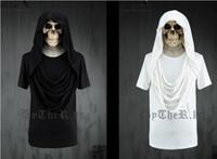 Wholesale New Arrival Men s T shirt Short Sleeve Hooded White Black Solid Color Cotton Hip hop M L XL Summer CQY7