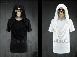 Wholesale New Arrival Men s T shirt Short Sleeve Hooded White Black Solid Color Cotton Hip hop M L XL Summer CQY7