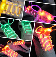 Wholesale Freeshipping pairs Hot sale CE amp RoHS LED LIGHT UP SHOELACES LED FLASHING DISCO FLASH LITE GLOW STICK NEON