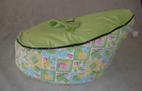 alphabet bean bags - New Alphabet Letters printed Green Baby Bean Bag kids Sofa Chair Snuggle Bed Cover No filling with Harness Strap Cover Two Top covers