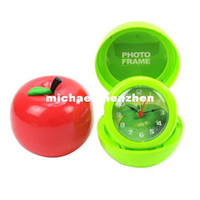 Wholesale Creative apple folded photo frame alarm clock color random