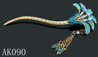 Wholesale hot sell Women Vintage hair jewelry rhinestone leaves Hair sticks Hair Accessories Mixed colors AK090