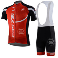 Short Breathable Unisex Tour de France CASTELLI Cycling Jersey Sets Red Short-sleeved Bicyle Jerseys Riding Mountain Bike Suits Tops + Pant Size S-3XL Free Shipping