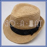 Wholesale Unisex Beach Sunshine Summer Natural Raffia Real Straw Fedora Trilby Panama Brim Hat