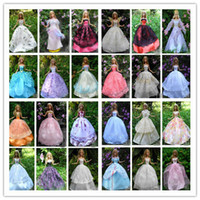 Wholesale 30 Items Dresses Hangers Shoes Handmade Gown Dress Clothing For Barbie Doll
