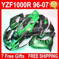 al por mayor carenados thunderace yamaha-7gifts para YAMAHA! YZF1000R 96-07 YZF 1000R llamas verdes negros Thunderace 96 97 98 99 00 01 02 03 04 05 06 07 INJ677 YZF-1000R carenado ABS