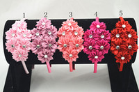 Wholesale Trail order satin ribbon flower hairband Multilayers DIY Flower with Crystal Button headband accessories