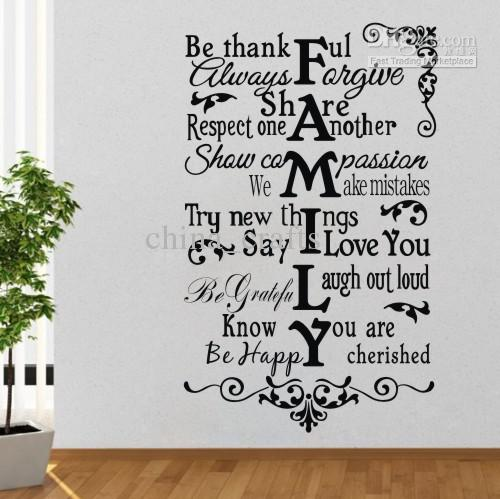 Fashion Family Wall Quote Decal Sticker Decor Living Room