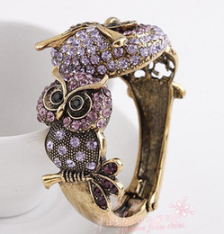 Wholesale Hot sales Vintage Ancient Bronze Plated Owl Full Diamond Open Mouth Bracelets