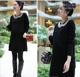 Wholesale Autumn and winter of the new large size fat MM handmade pearl pregnant women dres