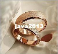 al por mayor 14k anillos de pareja de oro-14k oro rosa mate de titanio anillo de acero anillos de pareja no se desvanecen Oro rosa de 14 k
