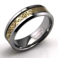 Wholesale Dragon Tungsten Carbide Celtic Ring Jewelry Wedding Band Gold New size7 MAKING CHARMS AND HOT SELLING TGTU014R