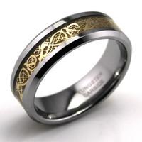 Libre dragón del envío de tungsteno anillo de carburo celta, Wedding la joyería anillo de oro Nueva size7-13, ENCANTOS elaboración y venta CALIENTE, TGTU014R