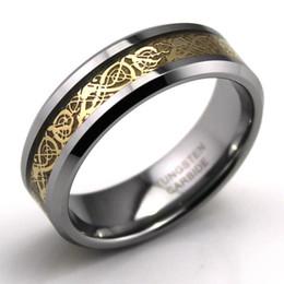 Tungsteno anillos de carburo de dragón en Línea-Libre dragón del envío de tungsteno anillo de carburo celta, Wedding la joyería anillo de oro Nueva size7-13, ENCANTOS elaboración y venta CALIENTE, TGTU014R