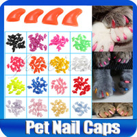 Wholesale New Lots100pcs Soft Cat Pet Nail Caps Claws Paws Off Control Adhesive Glue ZX003B