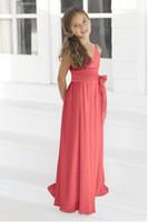 Cheap Applique red flower girl dresses Best Satin Tea-Length flower girl dress uk