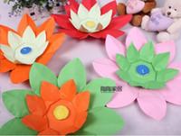 Wholesale HOT SELL Paper Flower Lotus Wish Lantern Water Floating Candle Light Yellow Wishing Lamp lotus lamps