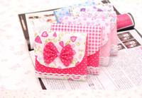 Fabric Sundries Eco Friendly Cute Bow Cotton Sanitary Napkins Bag Lady Use Velcro Sanitary Napkin Storage Bag