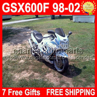 fair white - Free windscreen For SUZUKI Cyan flames white KATANA GSX600F CL1452 GSX F GSXF600 GSXF Fair