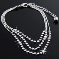 Cheap Free Shipping Wholesale 10PCS Fashion 3 Rows Rhinestone Metal Anklet Bracelet, Ankle Bracelet