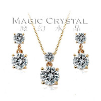 Wholesale Italina Rigant fashion jewelry k Rose Gold Plated Jewelry Set Necklace and Earring Birthday Gift