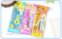 Wholesale 36BAGS IN One BAG Kawaii San X Rilakkuma Bear Stationery Set Wooden Pencil Eraser Sharpener CM Ruler