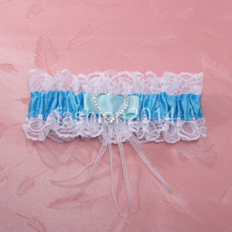 Wholesale unique devise blue silk ribbon Love to drill Wedding bridal Garters Sexy Lace Garter Bridal Accessories