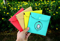 Fabric Sundries Eco Friendly Candy colors Cloth Cartoon Sanitary Napkins Bag Lady Use Sanitary Napkin Storage Bag