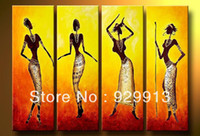 More Panel Oil Painting Abstract Framed 4 Panel 100% Handpainted Large Canvas Art Modern African Women Painting Dance Wall Decor Picture M1437