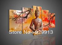 Ручная панель будда RU-Рамку 5 Панель 100% Handmade High End Удивительный Большой 5 шт Wall Art Cherry Blossom феншуй Современный Будда Картины Холст Картины M1307
