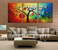 Wholesale Framed Panels Handpainted High End Large Colorful Money Tree Panel Wall Art Feng Shui Picture Abstract Oil Painting on Canvas M1268