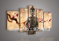 More Panel Oil Painting Abstract Framed 5 Panel 100% Handmade High End Amazing Large 5 Piece Canvas Art Cherry Blossom Feng Shui Buddha Painting Chinese Wall Pictures M1308